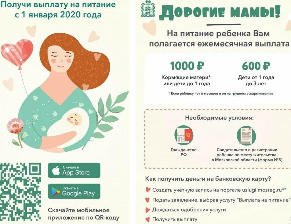 На фото порядок выплаты на питание детей для различного возраста.
